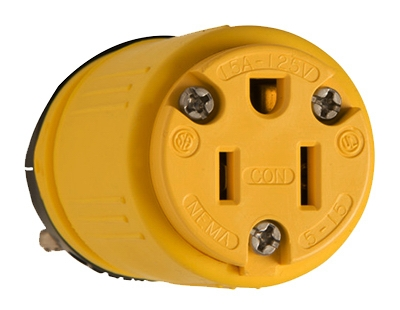 Rubber Connector, Yellow, 15-Amp, 125-Volt