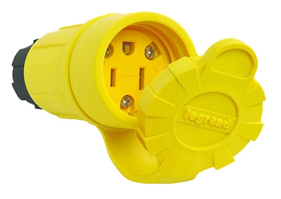Watertight Connector, Yellow,  2-Pole, 15-Amp, 125-Volt