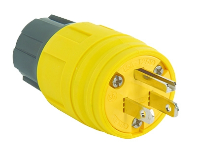 Watertight Plug, Yellow, 2-Pole, 15-Amp, 125-Volt