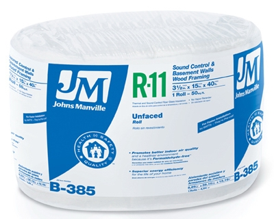 R11 Unfaced Insulation, 50-Sq. Ft. Coverage, 15-In. x 40-Ft. Roll
