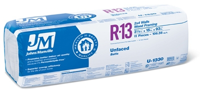 Un-Faced Kraft Batt Insulation, R13, 106.5-Sq. Ft. Bag