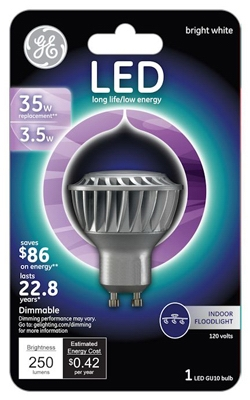 LED Floodlight Bulb, Indoor, GU10 Base, 3.5-Watt
