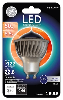 LED Floodlight Bulb, Indoor, GU10 Base, 5.5-Watt