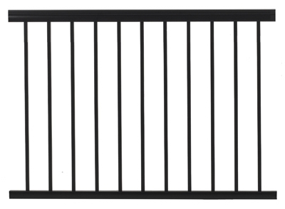 Railing, Black Aluminum, 4-Ft.