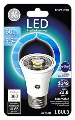LED Floodlight Bulb, Indoor, PAR16, Medium Base, 5.5-Watt