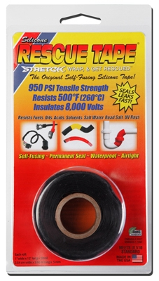 Rescue Silicone Tape, Self-Fusing, Black, 1-In. x 12-Ft.