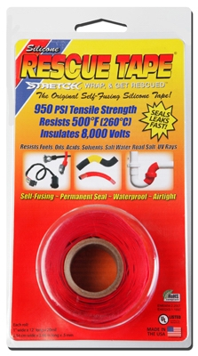 Rescue Silicone Tape, Self-Fusing, Red, 1-In. x 12-Ft.