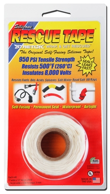 Rescue Silicone Tape, Self-Fusing, White, 1-In. x 12-Ft.