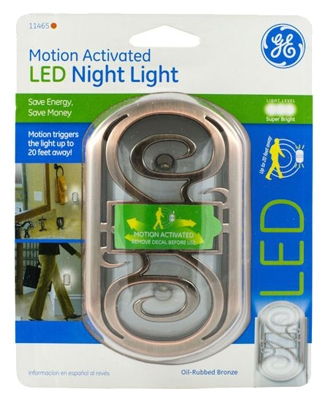 LED Night Light, Motion Activated, Bronze