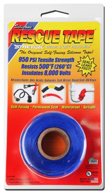 Rescue Silicone Tape, Self-Fusing, Blue, 1-In. x 12-Ft.