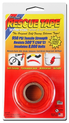 Rescue Silicone Tape, Self-Fusing, Orange, 1-In. x 12-Ft.