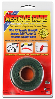 Rescue Silicone Tape, Self-Fusing, Green, 1-In. x 12-Ft.