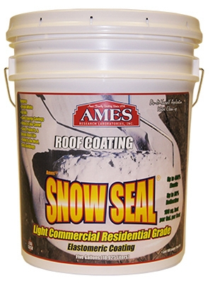 Snow Seal Premium Roof Coating, Contractor Grade, Elastomeric, Bright White, 5-Gals.