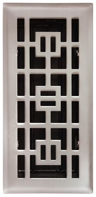 Floor Register,  Satin Nickel, 4 x 12-In.
