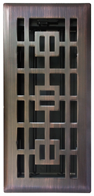 Floor Register,  Oil-Rubbed Bronze, 4 x 12-In.