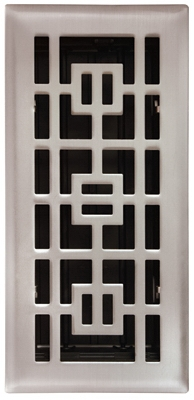 Floor Register,  Satin Nickel, 4 x 10-In.