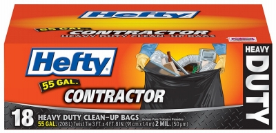 Contractor Trash Bags, Heavy Duty, Gray, 55-Gal., 18-Ct.