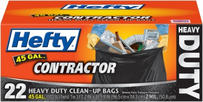 Contractor Trash Bags, Heavy Duty, Gray, 45-Gal., 22-Ct.