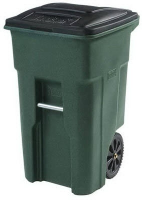 Trash Cart, Green, Wheeled, 32-Gal.