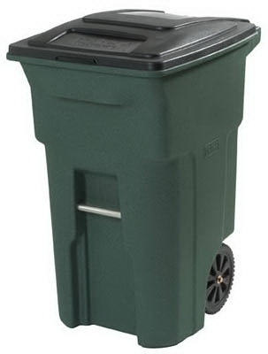 Trash Cart, Greenstone, Wheeled, 64-Gal.