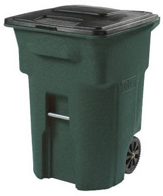 Trash Cart, Greenstone, Wheeled, 96-Gal.