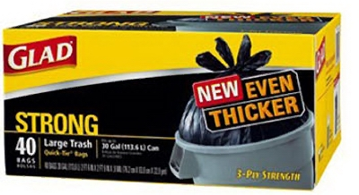 Outdoor Trash Bags, Black, Quick Tie, 30-Gal., 40-Ct.