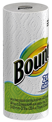 Bounty Paper Towel, White, 1 Regular Roll - 40 sheets