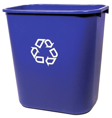 Recycling Wastebasket, Blue, 28-1/8-Qts.