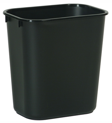Office Wastebasket, Black, Rectangle, 13-5/8-Qts.