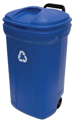 Recycling Trash Can With Wheels, Blue, 34-Gals.