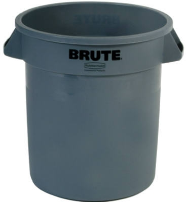 Trash Can without Lid, Gray, Plastic, 10-Gal.
