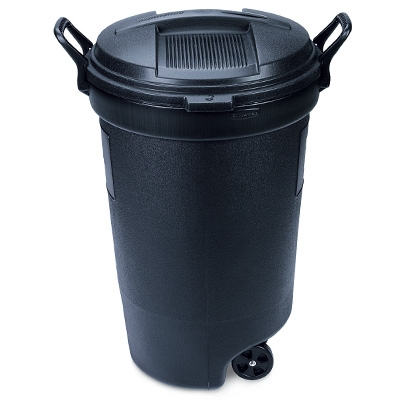 Roughneck Wheeled Trash Can, Black, 32-Gal.