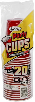 20-Count 18-oz. Red Plastic Beverage Cups