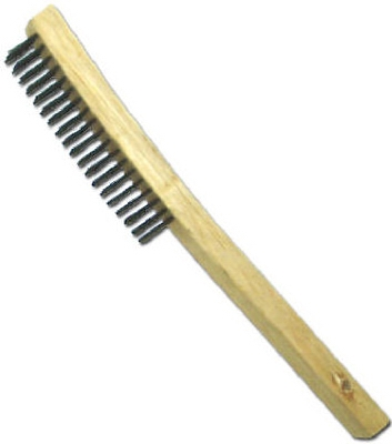 Wire Brush, Curved Long Handle, Steel & Wood