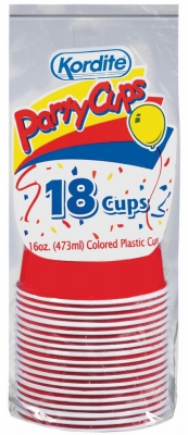Kordite Red 18-Count 16-oz. Plastic Ribbed Party Cup