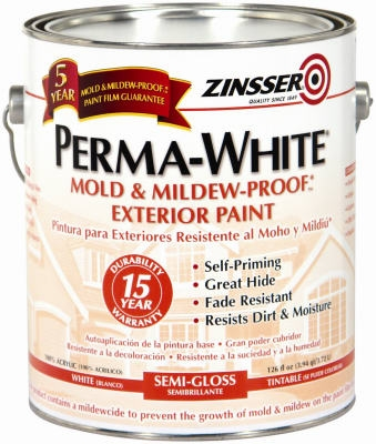 Gallon Semi-Gloss Exterior Paint, Perma White