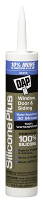 Silicone Plus Window & Door Sealant, White, 10.1-oz.