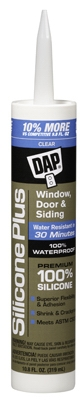 Silicone Plus Window & Door Sealant, Clear, 10.1-oz.