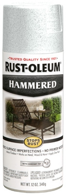 Stops Rust Spray Paint, White Hammered, 12-oz.