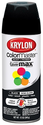 Colormaster Spray Paint, Indoor/Outdoor Use, Semi-Gloss Black, 12-oz.