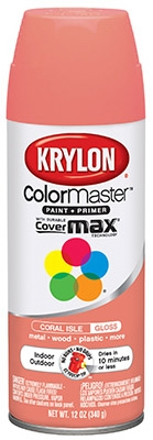 Colormaster Spray Paint, Indoor/Outdoor Use, Gloss Coral Isle, 12-oz.