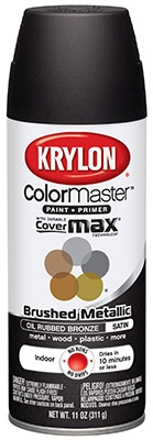 Colormaster Brushed Metallic Spray Paint, Indoor Use, Oil Rubbed Bronze,11-oz.