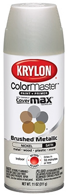 Colormaster Brushed Metallic Spray Paint, Indoor Use, Satin Nickel,11-oz.