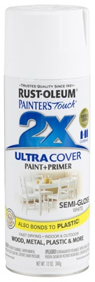Painter's Touch 2X Spray Paint, Semi-Gloss White, 12-oz.