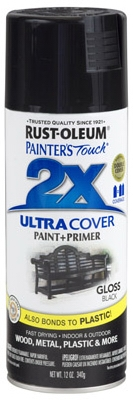 Painter's Touch 2X Spray Paint, Gloss Black, 12-oz.