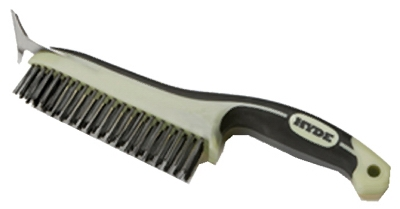 Wire Brush With Scraper Blade, Ergonomic, 6 x 1 x 12-1/2-In.
