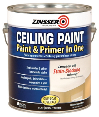 Ceiling Paint / Primer, Goes On Pink, Gal.