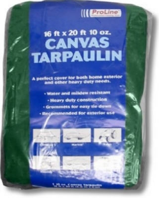 Canvas Tarp, Hunter Green, 12 x 16-Ft., 10-oz.