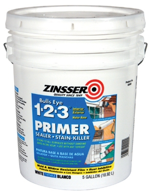 Bulls Eye 1-2-3 Primer, Sealer & Stain Killer, Water Base, 5-Gals.