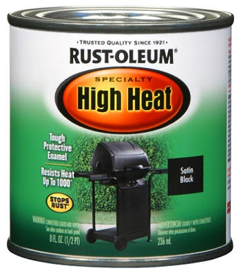 1/2-Pint Barbecue Black Satin Finish High Heat Paint